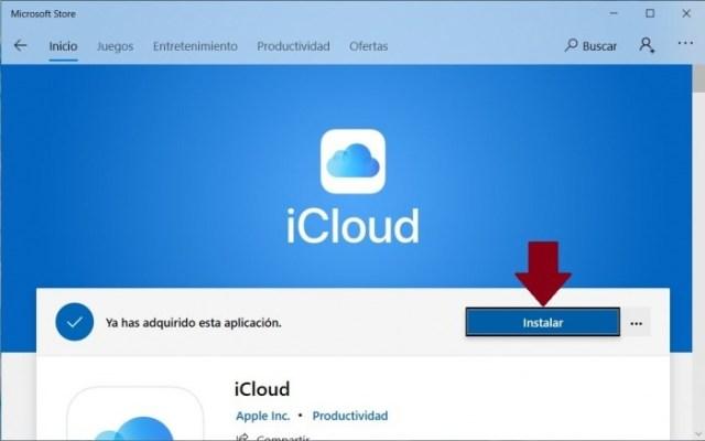iCloud en la tienda de apps de Microsoft