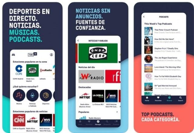 aplicaciones iOS TuneIn