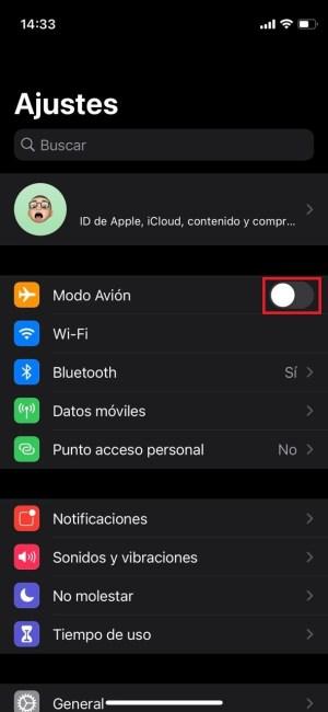 Activar el modo avión en iOS