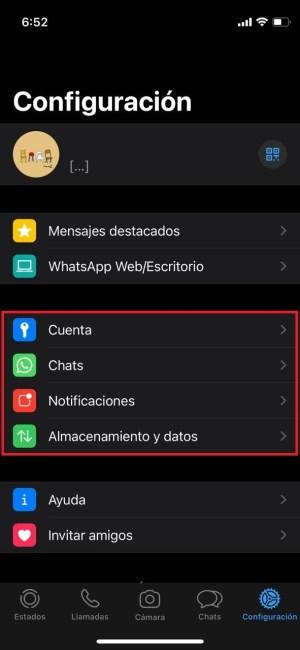 Ajustes principales en WhatsApp