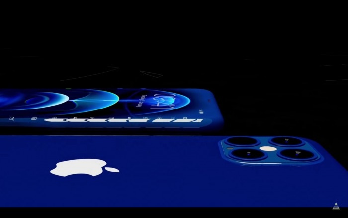 Concepto de un iPhone 13 con pantalla envolvente