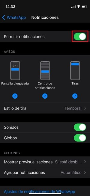 Desactivar WhatsApp en iOS