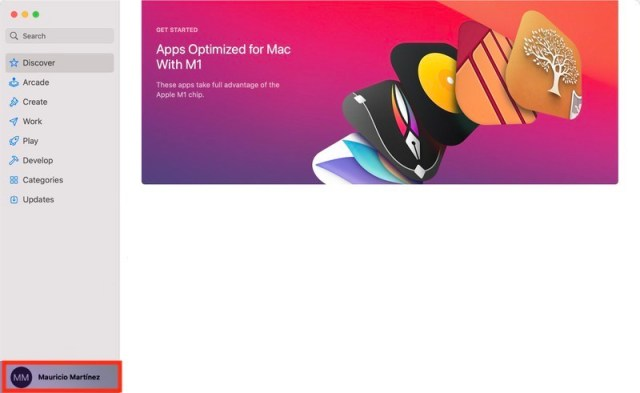 Perfil en la Mac App Store de un Mac con chip M1