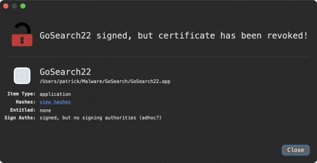 GoSearch22 malware de Apple Silicon