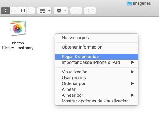 Pegar con trackpad o mouse en Finder