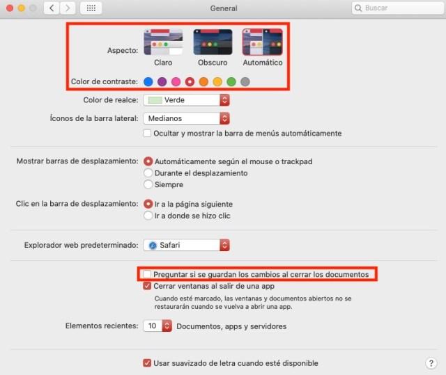 Ajustes en macOS General