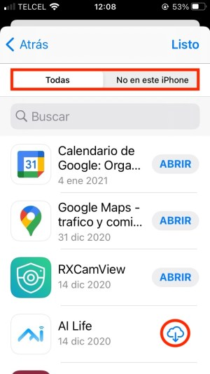 Historial de apps descargadas iPhone