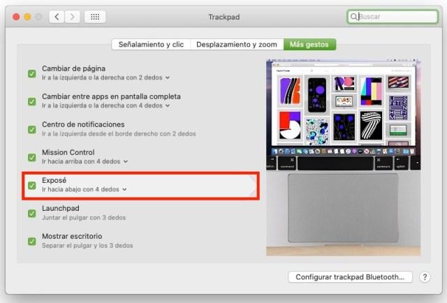 Activar Expose para Trackpad