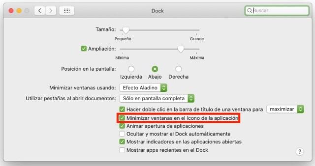 Ajustes de preferencias del sistema Dock