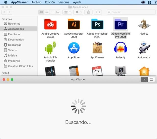 Buscando archivos relacionados para eliminar una app macOS