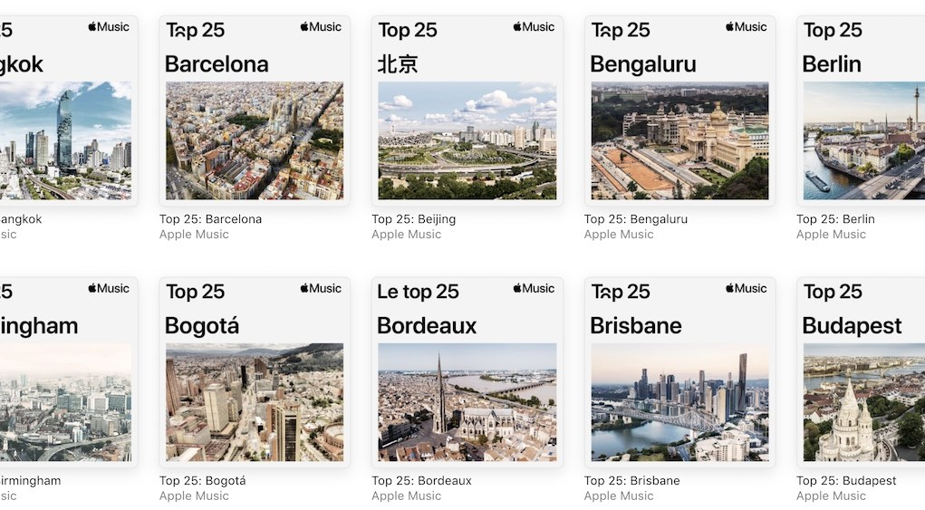 Ciudades top 25 Apple Music