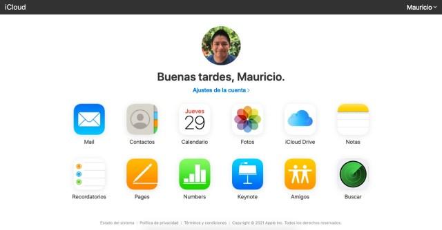 Opciones a consultar en iCloud