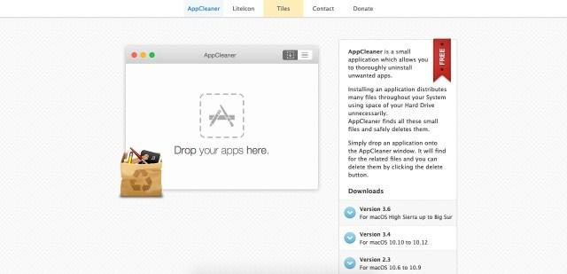 Pagina web de AppCleaner