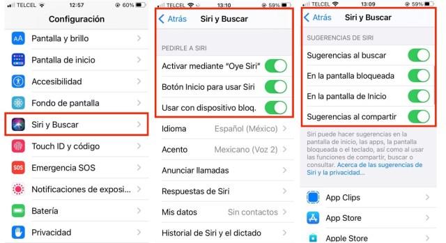 Activar Siri y buscar
