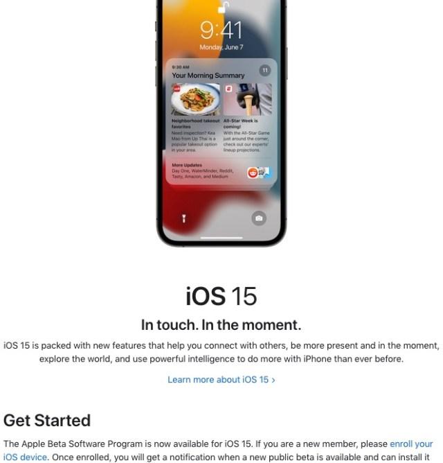 Enroll device beta publica de iOS 15