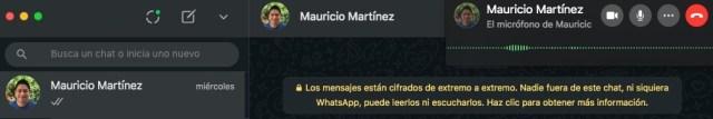 Interfaz de llamada WhatsApp desde Mac