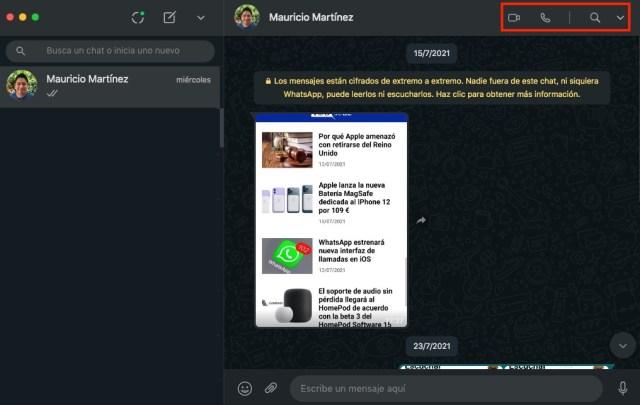 Llamadas WhatsApp desde Mac