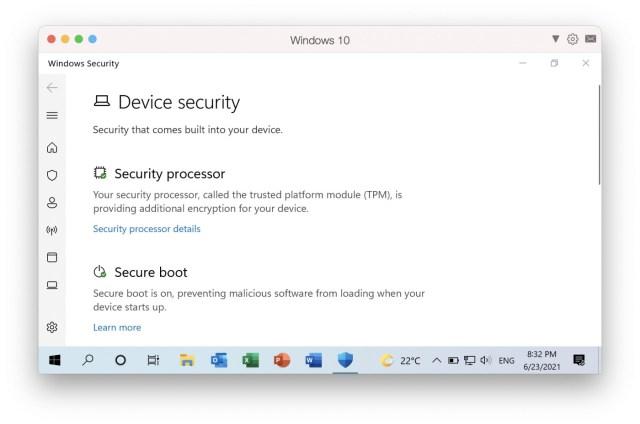 Opciones de seguridad Windows en Parallels Desktop 17