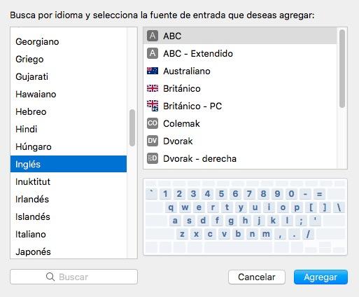 Variaciones del idioma en el teclado