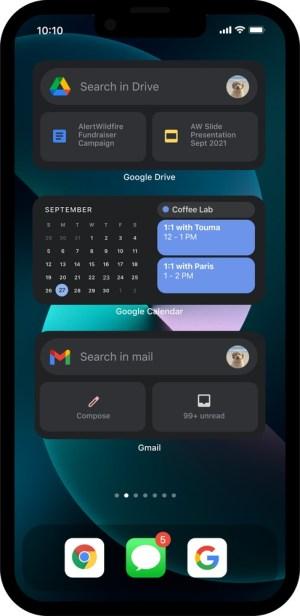 Apps de Google en widgets de iOS