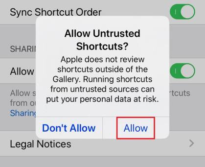 How to Enable untrusted shortcuts on iOS