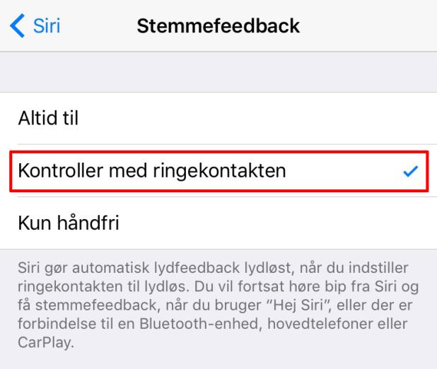 """Vælg """"Kontroller med ringekontakten"""" for at få Siri til at være lydløs når din iPhone eller iPad er lydløs."""
