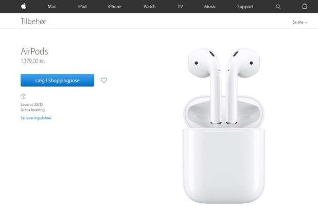 Apple AirPods til salg i Apples webshop for 1379 kr