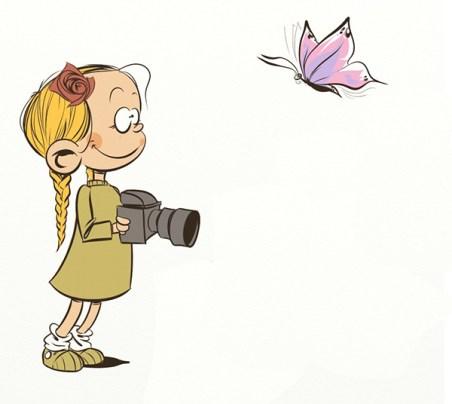 Iosua, cartoon, illustration, butterfly photographer, child photographer