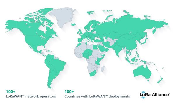 lorawan coverage map as of december 2018