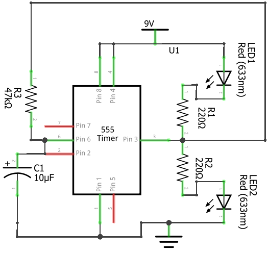 LED Flashing Rail road circuit using 555 timer IC