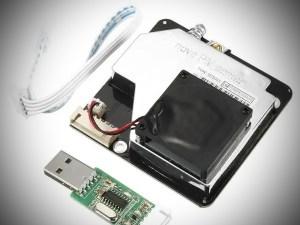 Levegőminőség (szálló por) érzékelő, PM2.5, PM10, lézeres