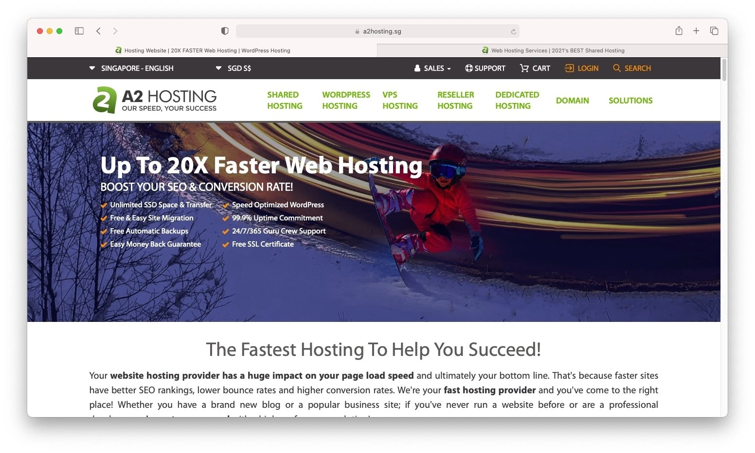 A2 Hosting is one of the best web hosting Singapore options