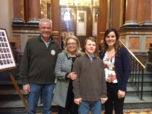 Iowa APSE members Bill and Kyle Stumpf, Kara Hess meeting with their legislator at the Iowa Capitol.