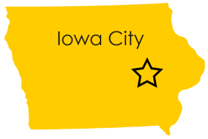 Outline of Iowa with Iowa City written in it with a star over Iowa City's location.