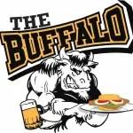 Buffalo Tavern logo. Buffalo holding a burger and beer.