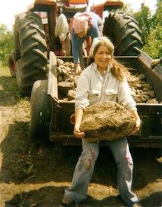 Julie Benning with boulder-sized rock