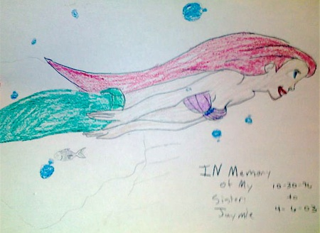 Jessie Salmons' mermaid drawing of his sister, Jaymie