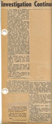 Scrapbook articles on Effie Bell's murder, provided