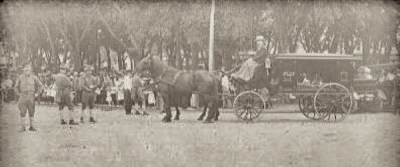 "The funeral procession for the Moore family and Stillinger sisters. (Courtesy photo Ancestry.com - ""The Funeral in the Park"")"