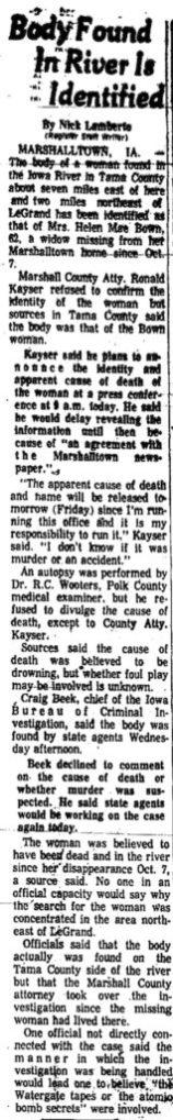Courtesy Des Moines Register, Nov. 2, 1973