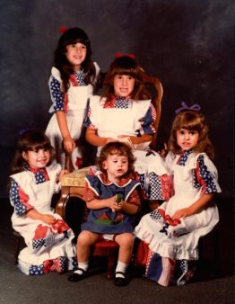 Kim Loose, front right, with her sisters Lorrie and Julie (back), Tammy and toddler Terri.