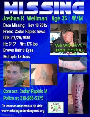 Joshua Wellman missing persons poster