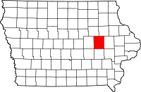 Iowa map showing Benton County