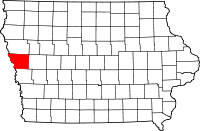Iowa map showing Monona County