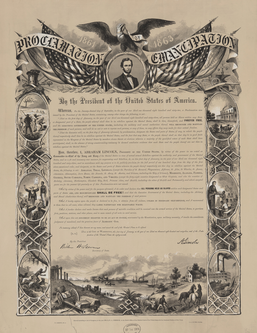 medium resolution of Print of Emancipation Proclamation by President Abraham Lincoln