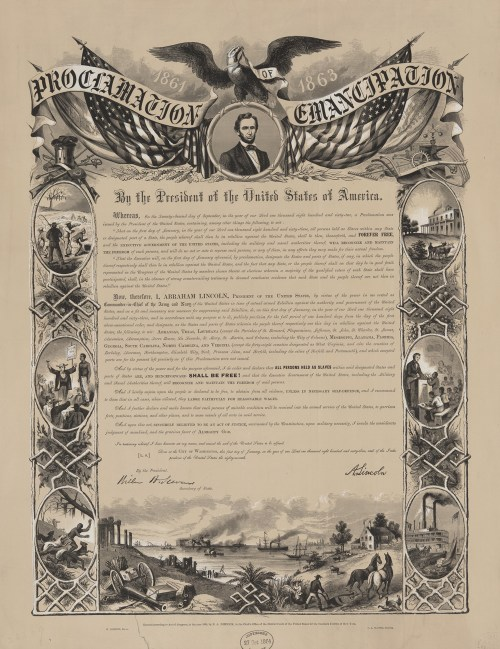 small resolution of Print of Emancipation Proclamation by President Abraham Lincoln