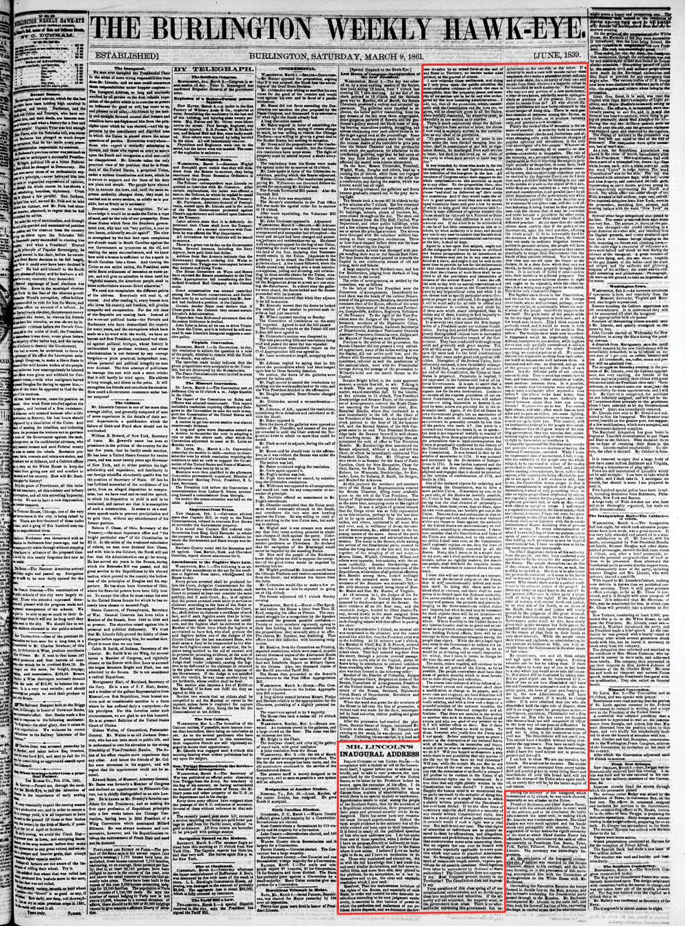 medium resolution of President Abraham Lincoln's First Inaugural Address