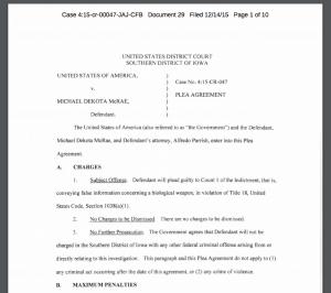 Michael McRae's 2015 plea agreement in which Representative Ako Abdul- Samad's clerk pleads guilty to faking a terrorist attack.