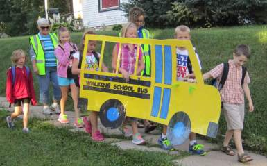 Northeast Iowa will soon be assisting neighboring counties will building their own SRTS movement (West Union Walking School Bus Fall 2014)