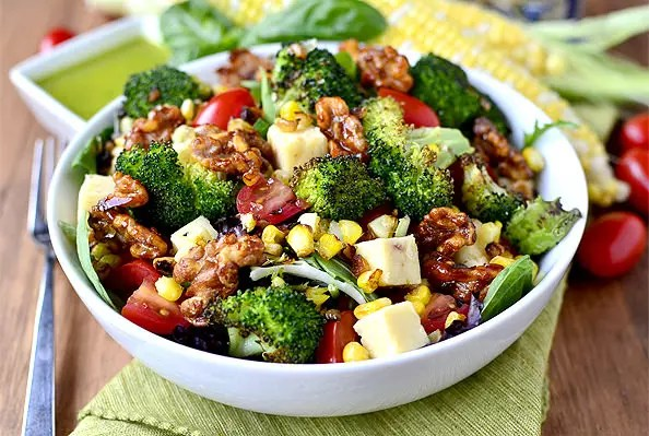 Earth Bowl Salads with Smokey Candied Walnuts and Basil